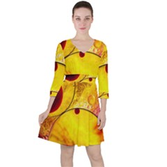 Abstract Water Oil Macro Ruffle Dress