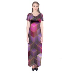 Cube Surface Texture Background Short Sleeve Maxi Dress