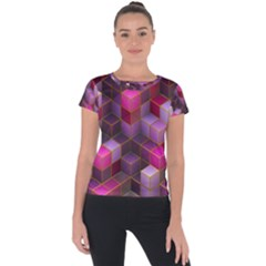 Cube Surface Texture Background Short Sleeve Sports Top