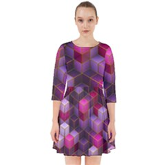 Cube Surface Texture Background Smock Dress