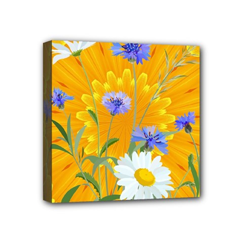 Flowers Daisy Floral Yellow Blue Mini Canvas 4  X 4