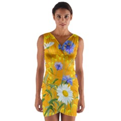 Flowers Daisy Floral Yellow Blue Wrap Front Bodycon Dress
