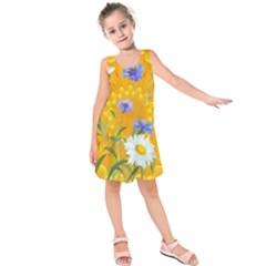 Flowers Daisy Floral Yellow Blue Kids  Sleeveless Dress