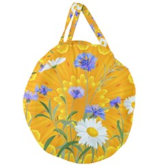 Flowers Daisy Floral Yellow Blue Giant Round Zipper Tote