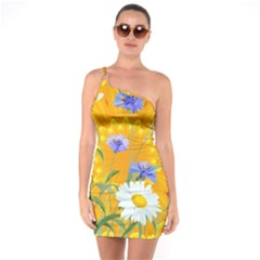 Flowers Daisy Floral Yellow Blue One Soulder Bodycon Dress