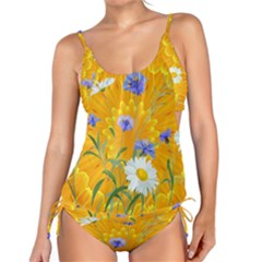 Flowers Daisy Floral Yellow Blue Tankini Set