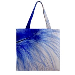 Feather Blue Colored Zipper Grocery Tote Bag by Nexatart