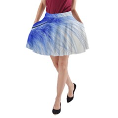 Feather Blue Colored A Line Pocket Skirt by Nexatart