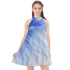 Feather Blue Colored Halter Neckline Chiffon Dress