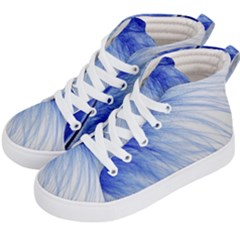 Feather Blue Colored Kid s Hi Top Skate Sneakers by Nexatart