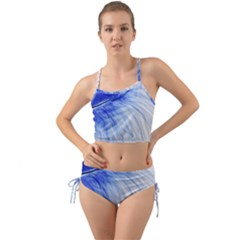 Feather Blue Colored Mini Tank Bikini Set by Nexatart