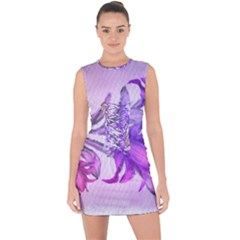 Flowers Flower Purple Flower Lace Up Front Bodycon Dress
