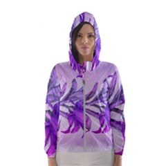 Flowers Flower Purple Flower Hooded Wind Breaker (women)