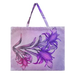 Flowers Flower Purple Flower Zipper Large Tote Bag