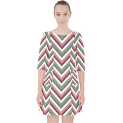 Chevron Blue Pink Pocket Dress