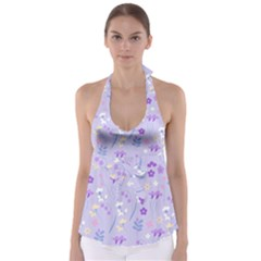 Violet,lavender,cute,floral,pink,purple,pattern,girly,modern,trendy Babydoll Tankini Top by 8fugoso