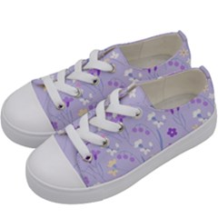 Violet,lavender,cute,floral,pink,purple,pattern,girly,modern,trendy Kids  Low Top Canvas Sneakers by 8fugoso