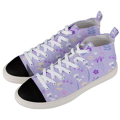 Violet,lavender,cute,floral,pink,purple,pattern,girly,modern,trendy Men s Mid Top Canvas Sneakers by 8fugoso