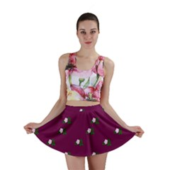 Pink Flowers Magenta Big Mini Skirt by snowwhitegirl