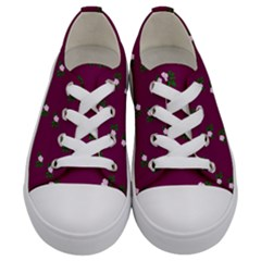 Pink Flowers Magenta Big Kids  Low Top Canvas Sneakers