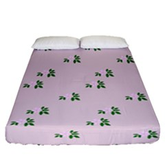 Pink Flowers Pink Big Fitted Sheet (queen Size)