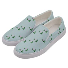 Pink Flowers Blue Big Men s Canvas Slip Ons by snowwhitegirl