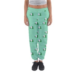 Pink Flowers Green Big Women s Jogger Sweatpants by snowwhitegirl