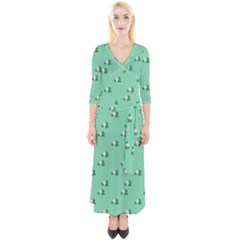 Pink Flowers Green Big Quarter Sleeve Wrap Maxi Dress