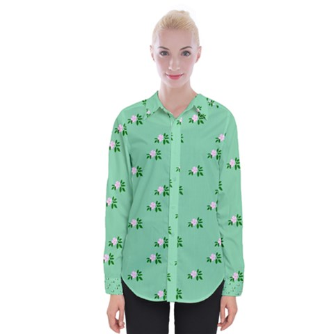 Pink Flowers Green Big Womens Long Sleeve Shirt by snowwhitegirl