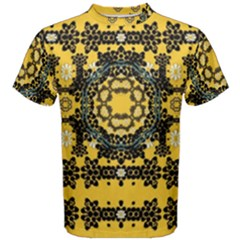 Ornate Circulate Is Festive In A Flower Wreath Decorative Men s Cotton Tee by pepitasart