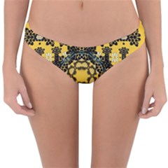 Ornate Circulate Is Festive In A Flower Wreath Decorative Reversible Hipster Bikini Bottoms by pepitasart
