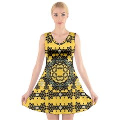 Ornate Circulate Is Festive In A Flower Wreath Decorative V Neck Sleeveless Skater Dress by pepitasart