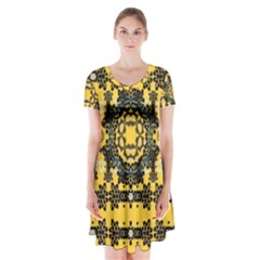 Ornate Circulate Is Festive In A Flower Wreath Decorative Short Sleeve V Neck Flare Dress by pepitasart