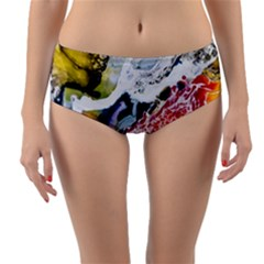 Abstract Art Detail Painting Reversible Mid Waist Bikini Bottoms by Nexatart