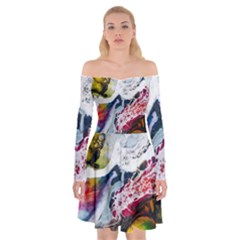 Abstract Art Detail Painting Off Shoulder Skater Dress