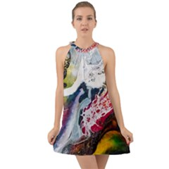 Abstract Art Detail Painting Halter Tie Back Chiffon Dress