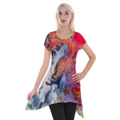 Art Abstract Macro Short Sleeve Side Drop Tunic