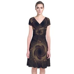 Beads Fractal Abstract Pattern Short Sleeve Front Wrap Dress