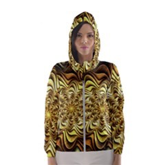 Fractal Flower Petals Gold Hooded Wind Breaker (women)