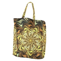 Fractal Flower Petals Gold Giant Grocery Zipper Tote