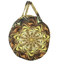 Fractal Flower Petals Gold Giant Round Zipper Tote