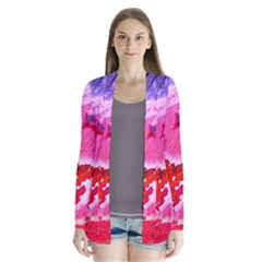 Abstract Art Background Paint Drape Collar Cardigan by Nexatart