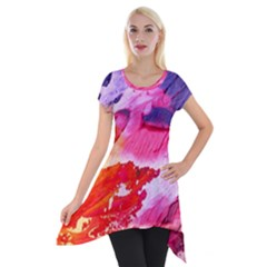 Abstract Art Background Paint Short Sleeve Side Drop Tunic by Nexatart