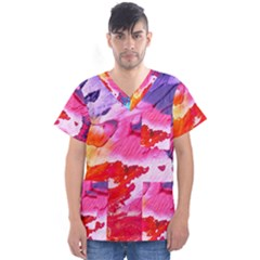 Abstract Art Background Paint Men s V Neck Scrub Top