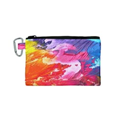 Abstract Art Background Paint Canvas Cosmetic Bag (small) by Nexatart