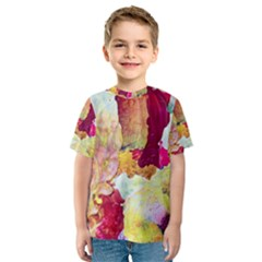 Art Detail Abstract Painting Wax Kids  Sport Mesh Tee