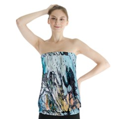 Abstract Structure Background Wax Strapless Top