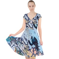 Abstract Structure Background Wax Cap Sleeve Front Wrap Midi Dress by Nexatart