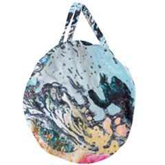 Abstract Structure Background Wax Giant Round Zipper Tote