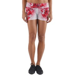 Flower Roses Heart Art Abstract Yoga Shorts
